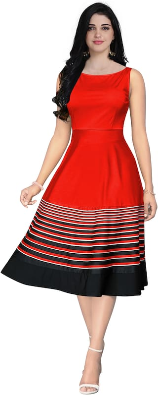 GLOBON IMPEX Red Striped Fit & flare dress