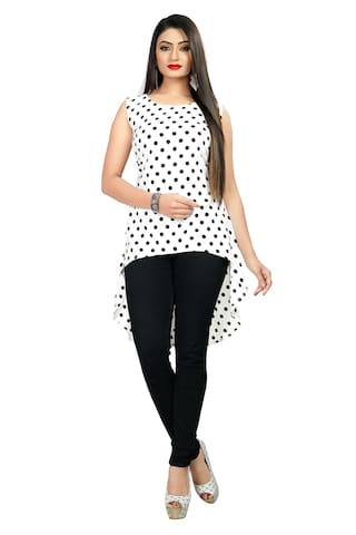 GLOBON IMPEX Crepe Polka Dots White Color Top for Women