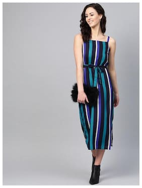 GLOBON IMPEX Crepe Multi Striped A Line Dress  For Women