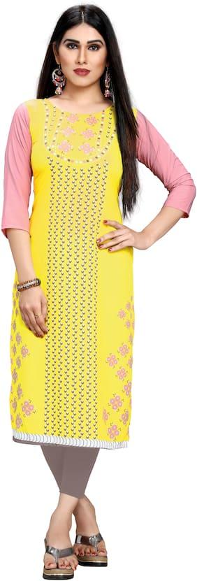 GLOBON IMPEX Women Yellow & Pink Printed A Line Kurti