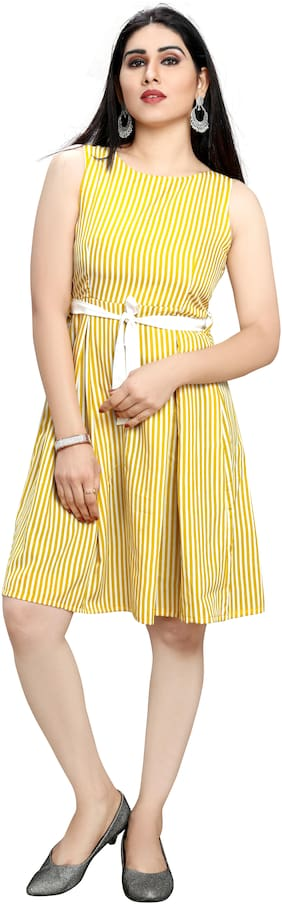 GLOBON IMPEX Yellow Striped Fit & flare dress