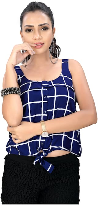 Globon Impex Crepe Checked Blue Crop Top For Women