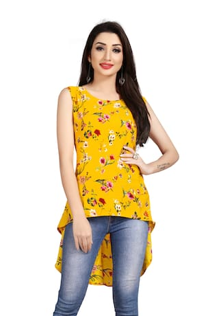 GLOBON IMPEX Crepe Floral Yellow Color Top for Women