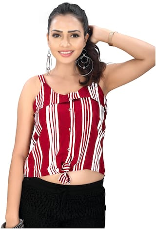 Globon Impex Crepe Striped Red Crop Top For Women