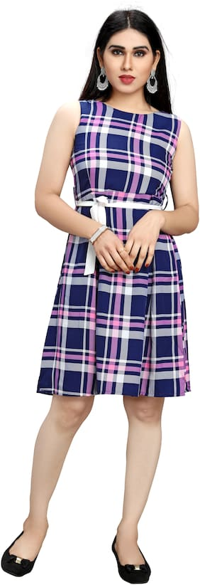 Globon Impex Women's Stylish Trending Fit & Flare Blue;Pink Dress