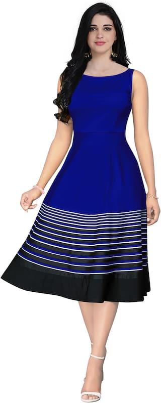 GLOBON IMPEX Blue Striped Fit & flare dress