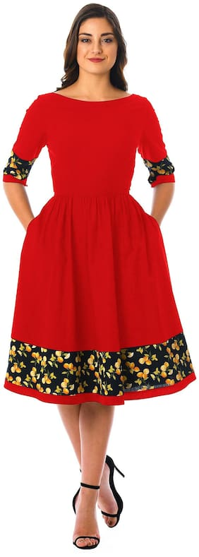 GLOBON IMPEX Red Floral Fit & flare dress