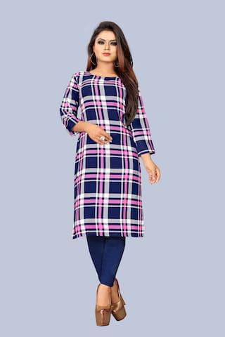 GLOBON IMPEX Women Blue Checkered Regular Kurti