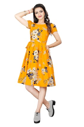 GLOBON IMPEX Women Crepe Floral Yellow A Line Dress