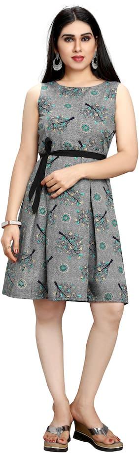 GLOBON IMPEX Grey Floral Fit & flare dress