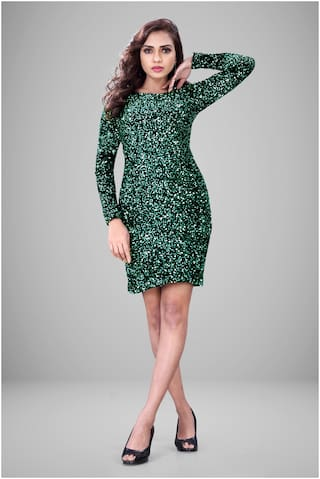 GLOBON IMPEX Green Embellished Sheath dress
