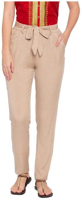 Globus Women Regular Fit High Rise Printed Pants - Beige
