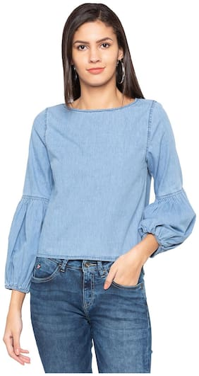 Women Solid Boat Neck Top