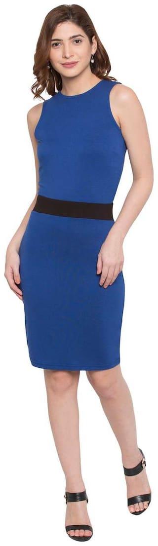 Globus Cotton Solid A-line dress Blue