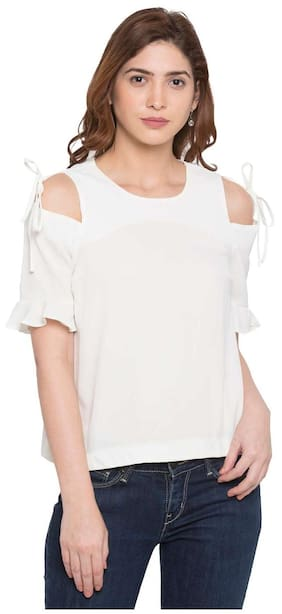 Globus Women Rayon Embroidered - A-line Top White