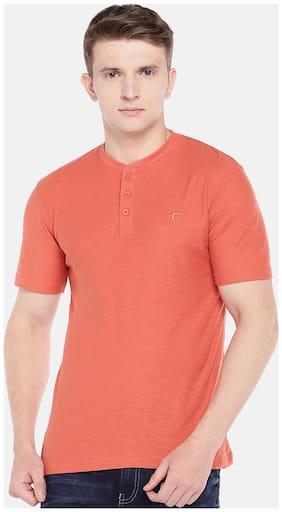 Men Henley Neck Solid T-Shirt
