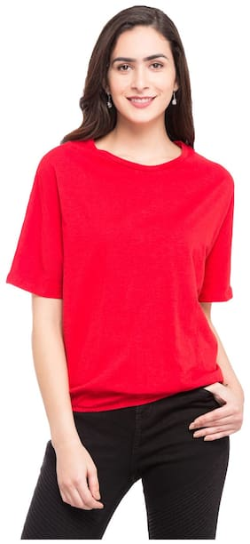 Globus Women Cotton Solid - A-line Top Red