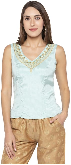 Women Embroidered V Neck Top