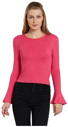 Globus Women Polyester Solid - Regular Top Pink