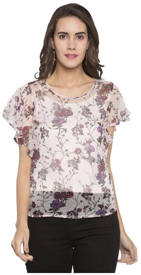 Globus Women Polyester Striped - A-line Top Pink