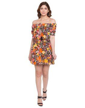 Globus Floral Print Off Shoulder Dress