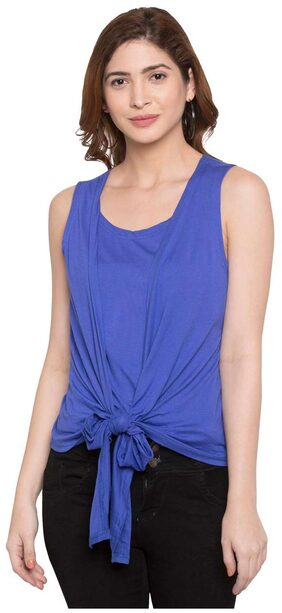 Globus Women Cotton Embroidered - A-line Top Blue