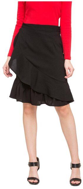 Globus Solid A-line Skirt Mini Skirt - Black
