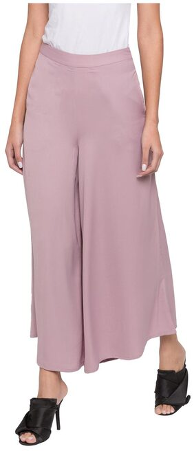 Globus Women Flared Fit High Rise Solid Pants - Pink