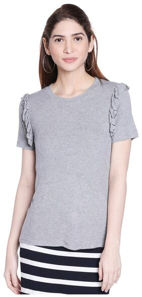 Globus Grey Melange Cuffed Sleeve Top