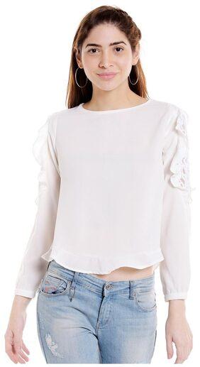 Globus Women Polyester Solid - Regular Top White