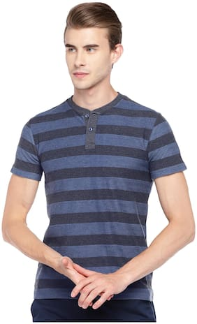 Men Henley Neck Striped T-Shirt ,Pack Of Pack Of 1