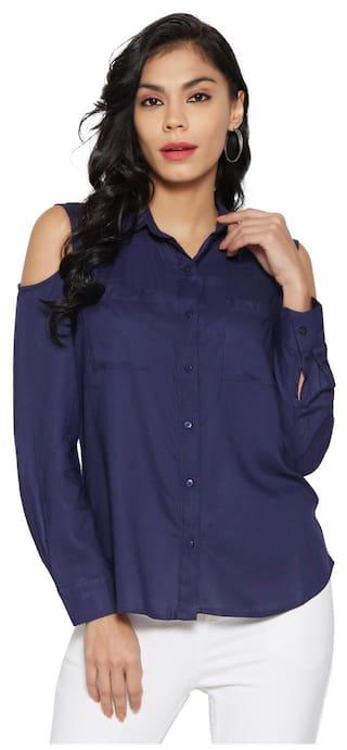 67d0faf8bf96c Buy Globus Navy Cold-Shoulder Shirt Online at Low Prices in India ...