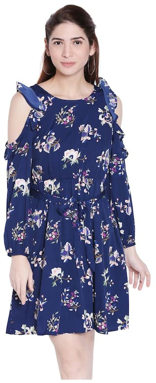 Globus Navy Blue Fit and Flare Dress