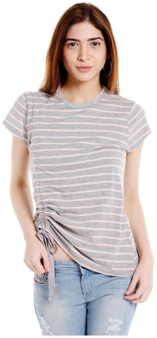 Globus Women Polyester Striped - Regular Top Grey