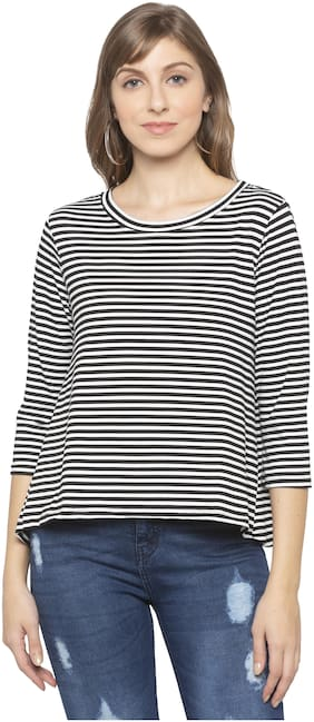 Women Striped Round Neck Top ,Pack Of 1