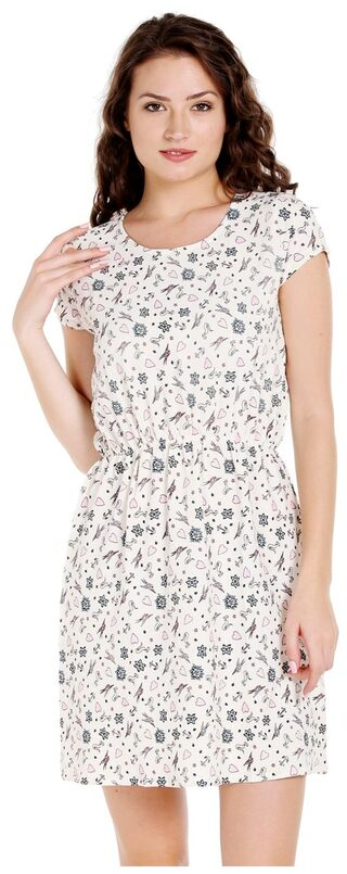 Globus Polyester Printed A-line Dress White