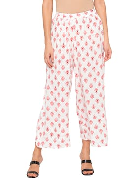 Globus Women Straight Fit High Rise Printed Pants - White
