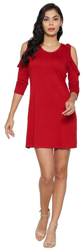 Globus Polyester Solid A-line Dress Red