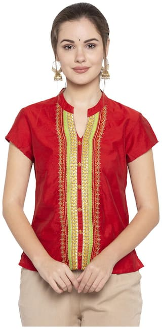 Globus Red Embroidered Top