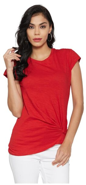 Globus Women Polyester Solid - Regular Top Red