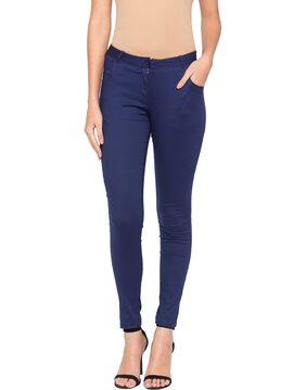 Globus Women Slim Fit High Rise Solid Pants - Blue
