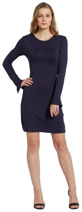 Globus Polyester Solid Bodycon Dress Blue