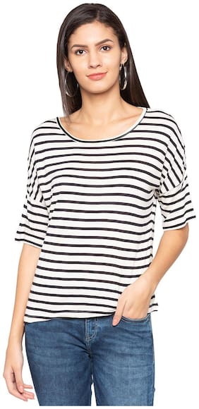 Women Striped Boat Neck Top