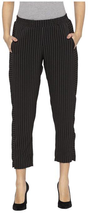 Globus Women Straight Fit Mid Rise Striped Pants - Black