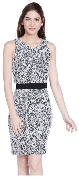 Globus Polyester Printed Bodycon Dress Grey