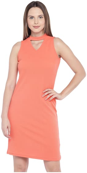 Globus Polyester Solid Sheath Dress Orange