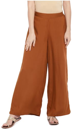 Globus Women Flared Fit Mid Rise Solid Pants - Brown