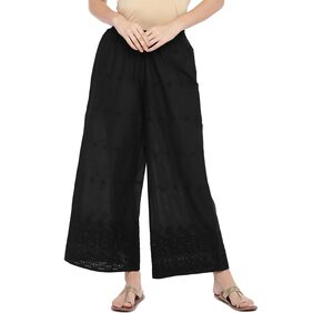 Globus Women Flared Fit Mid Rise Embroidered Pants - Black