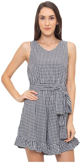 Women Checked Romper ,Pack Of Pack of 1