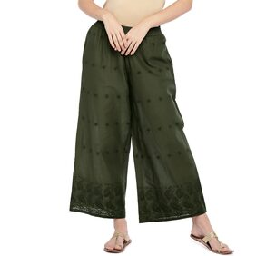 Globus Women Flared Fit Mid Rise Embroidered Pants - Green